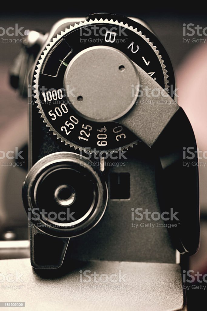 Old Film Camera detail of the Shutter Speed Control royalty-free stock photo
