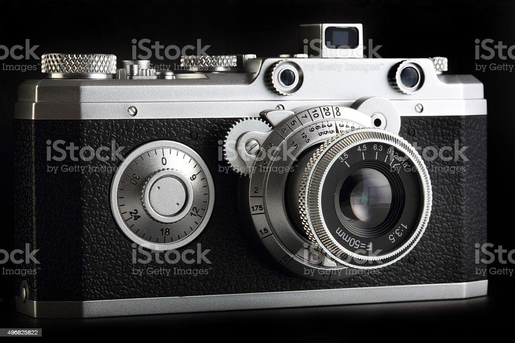 Old film camera model stock photo