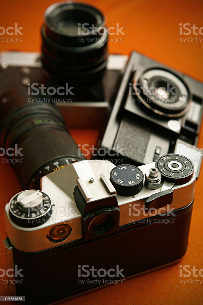 old film cameras stock photo