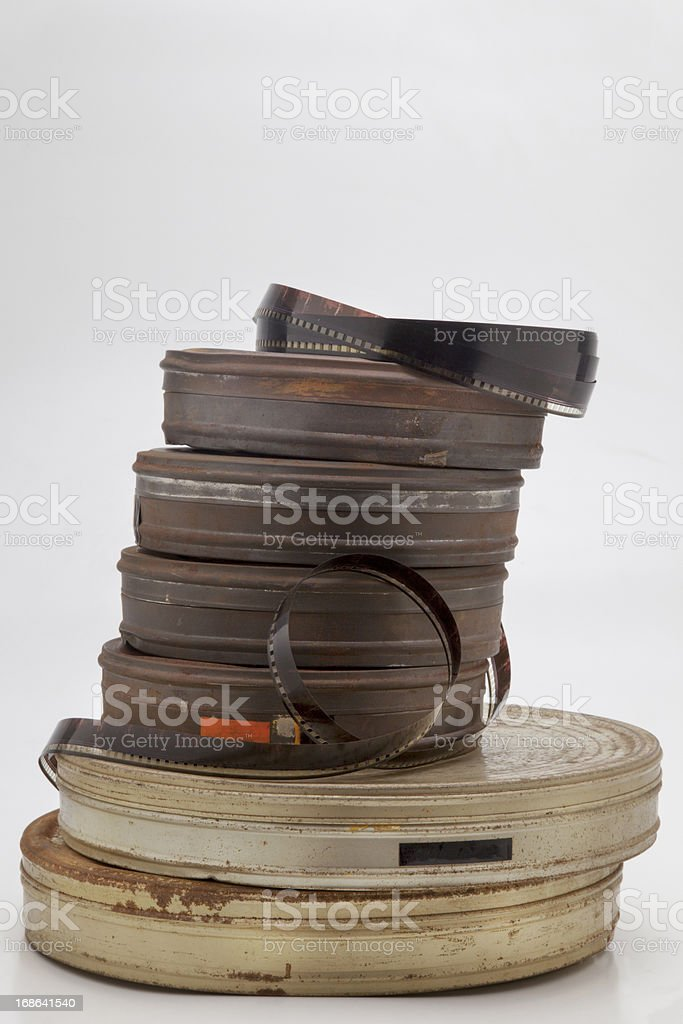 Old film cans stock photo