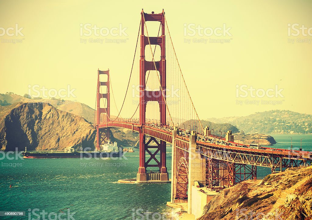 Old film retro style Golden Gate Bridge in San Francisco. stock photo