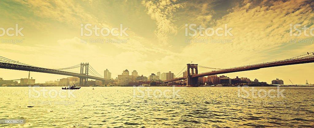 Old film retro style New York waterfront view, USA. stock photo