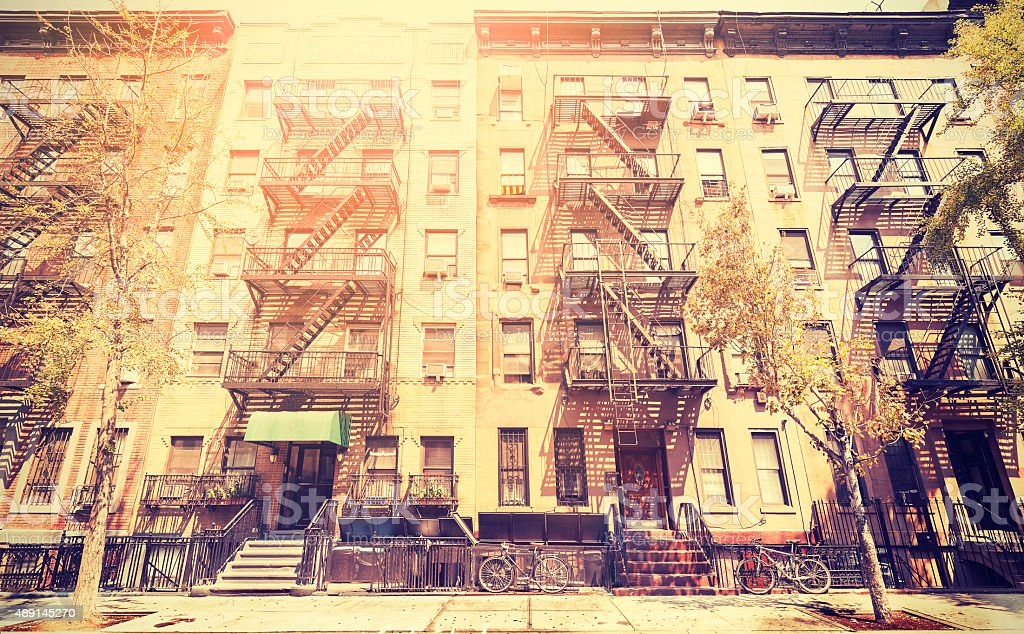 Old film retro style photo of New York street, USA. stock photo