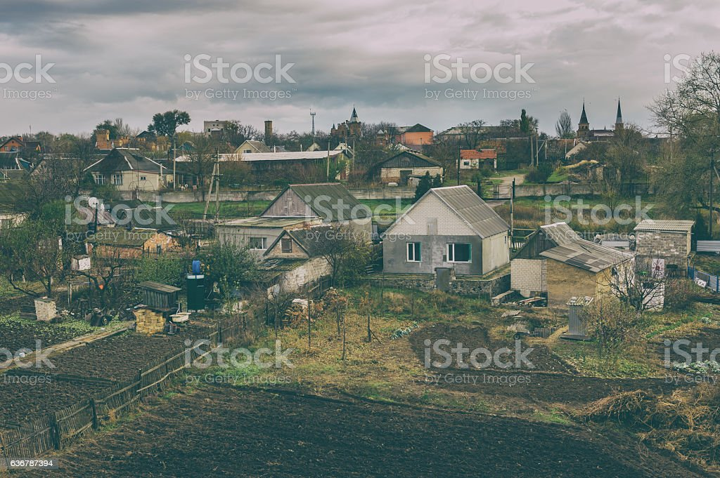 Old film stylized photo of rural village stock photo