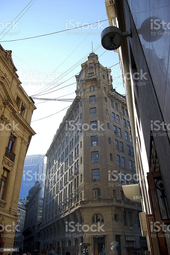 Old Financial Street in Santiago stock photo