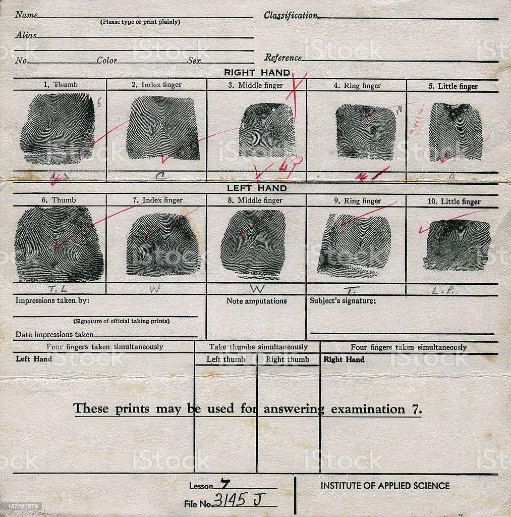 old fingerprint chart royalty-free stock photo