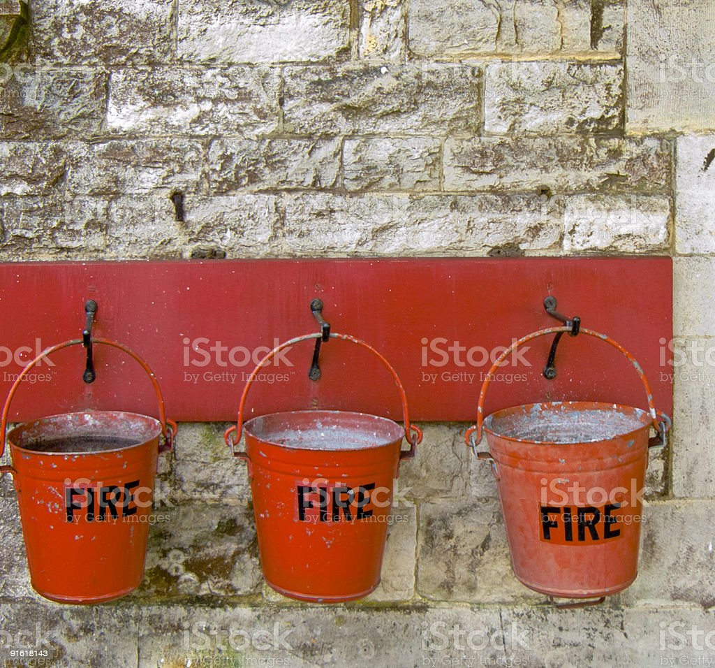 Old Fire Buckets stock photo