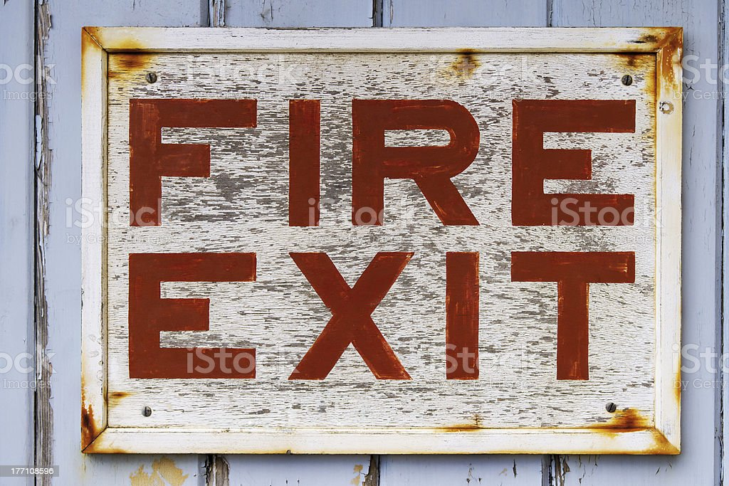 Old Fire Exit sign royalty-free stock photo