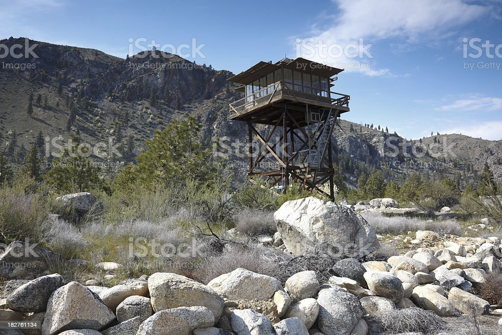 Old fire lookout stock photo