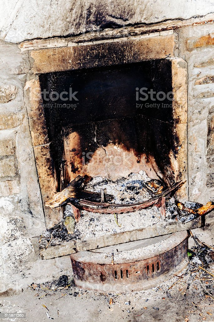 Old fireplace stock photo