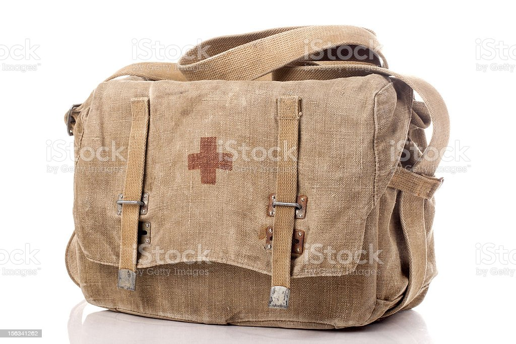 Old first aid military bag stock photo