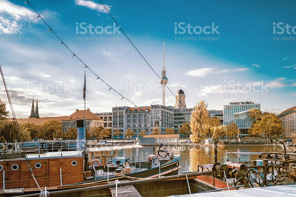 old fishermans harbour in  berlin with view on tv-tower stock photo