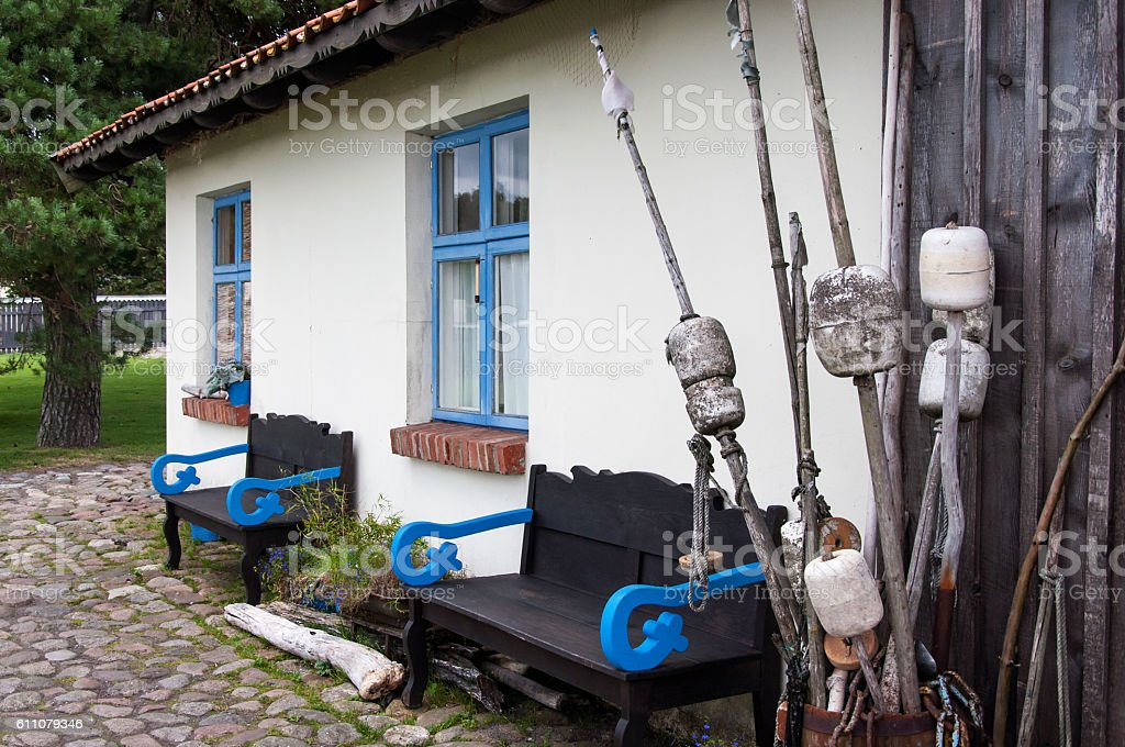 Old fishermans house stock photo