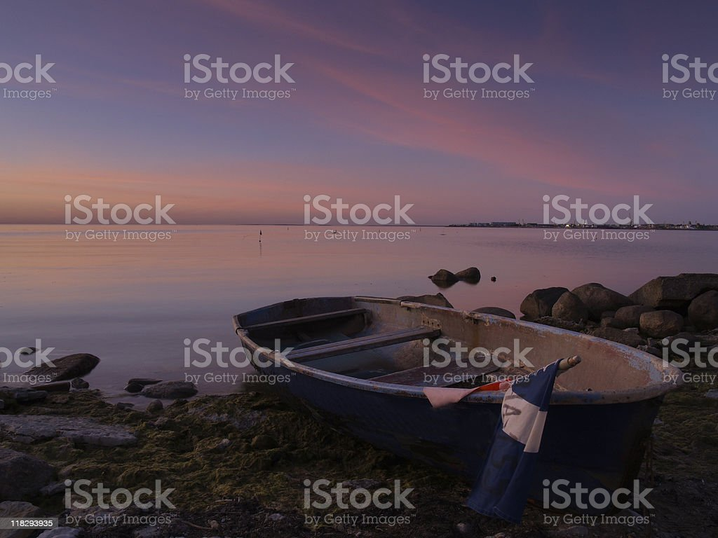 Old fishing boat, dusk royalty-free stock photo