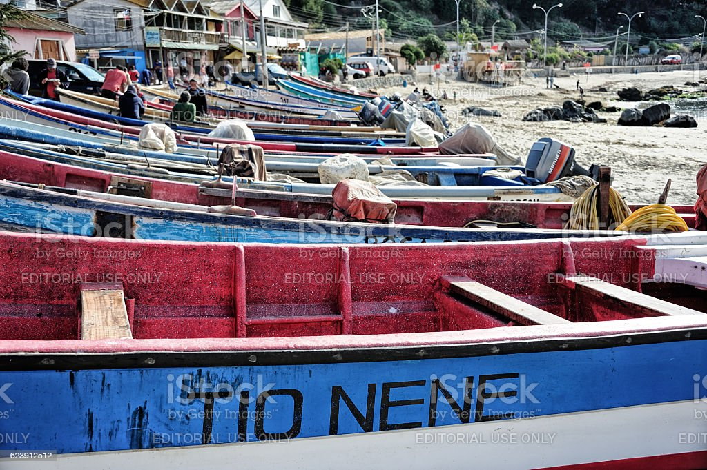 Old fishing boat in Concon stock photo