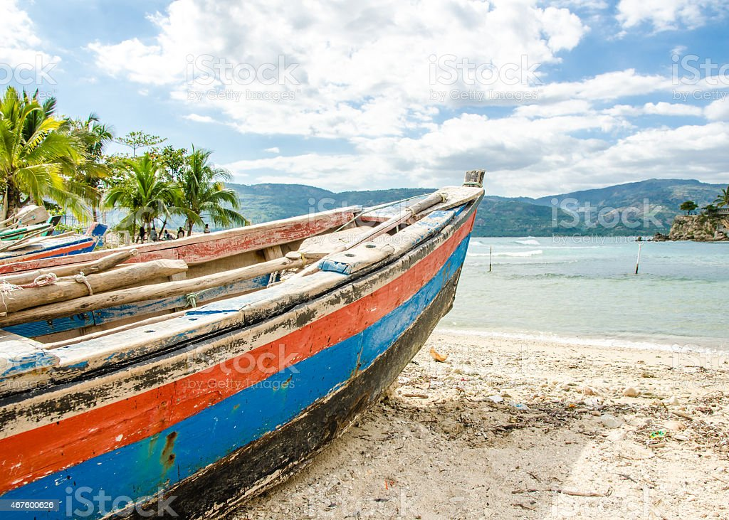 Old Fishing Boat, Jacmel, Haiti stock photo