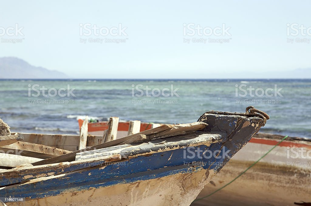 Old fishing boats in Dahab stock photo