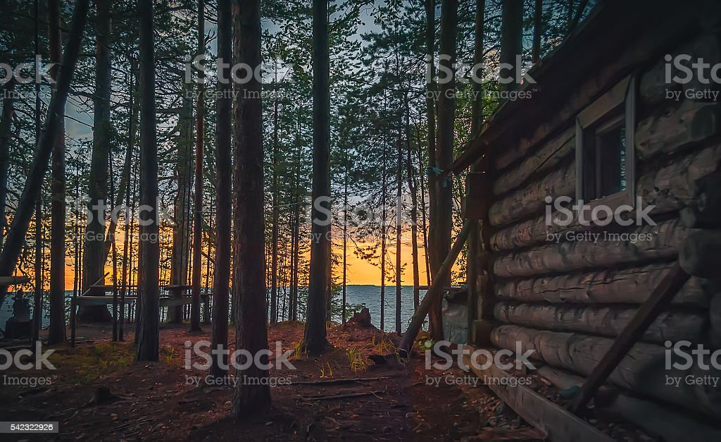 Old fishing hut in the forest stock photo