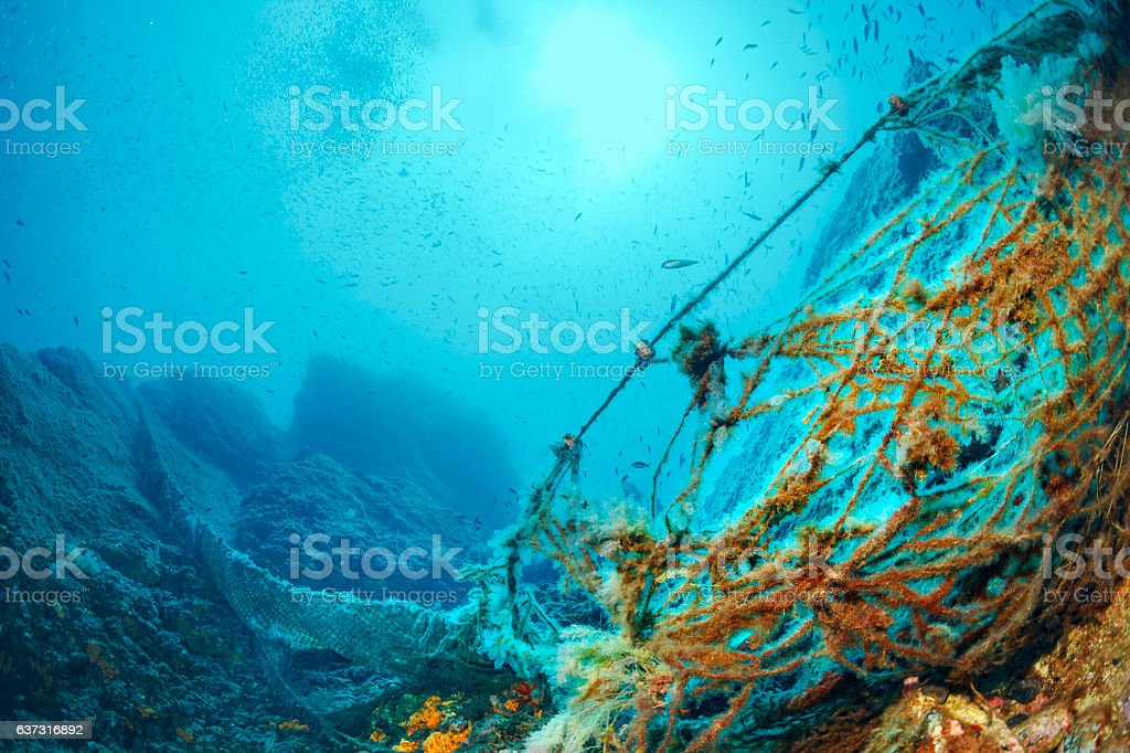 Old fishing nets Underwater reef  Scuba diver point of view stock photo
