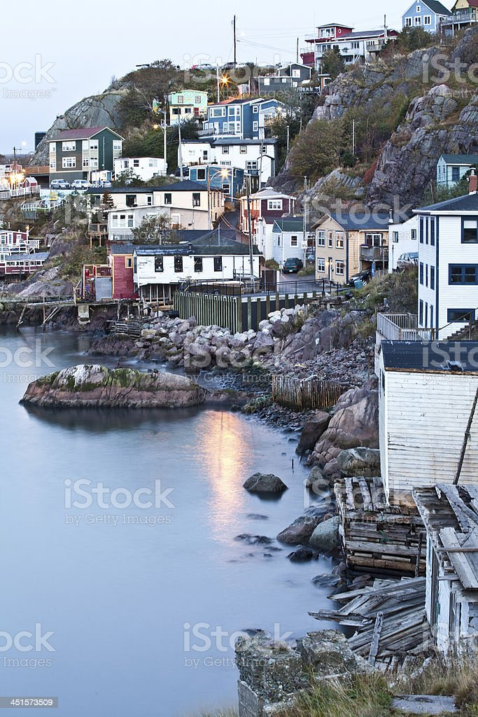 Old Fishing Village at Night in Newfoundland stock photo