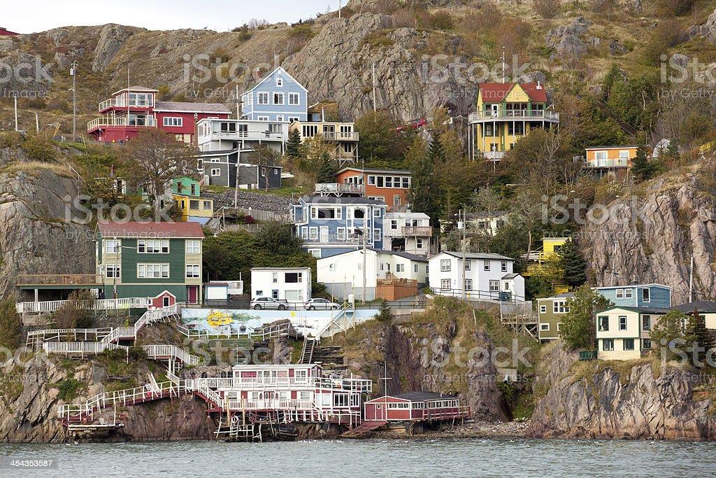 Old fishing village on a rocky landscape. stock photo