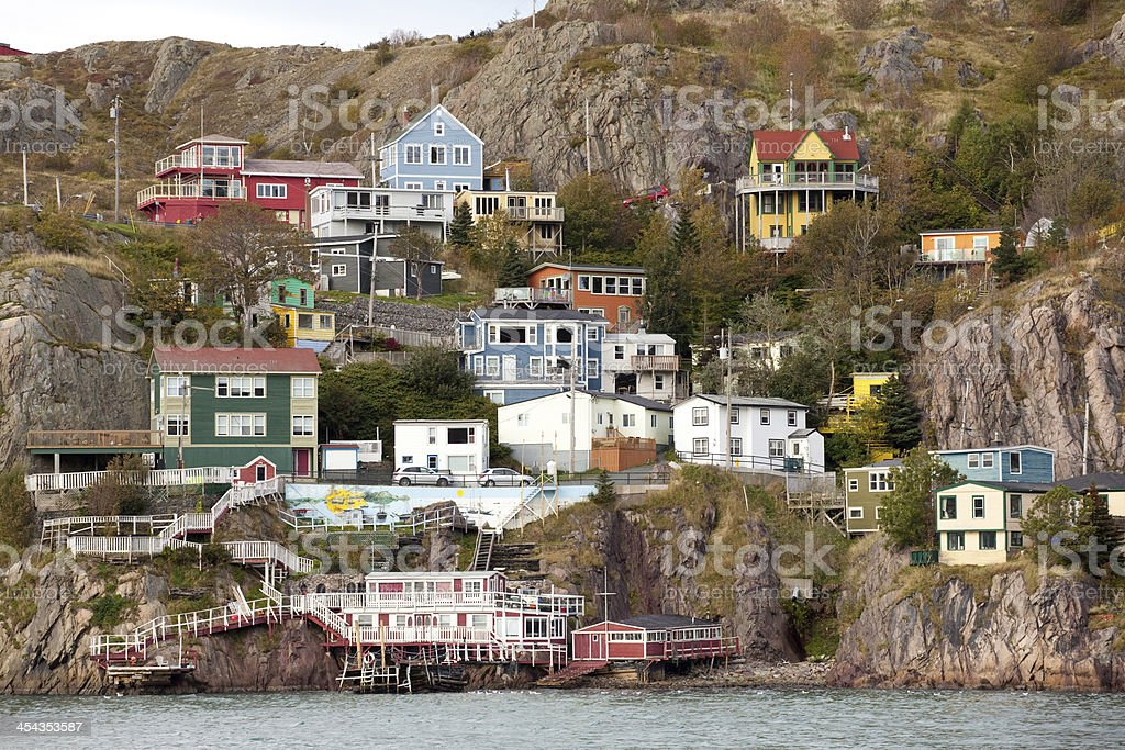 Old fishing village on a rocky landscape. stock photo