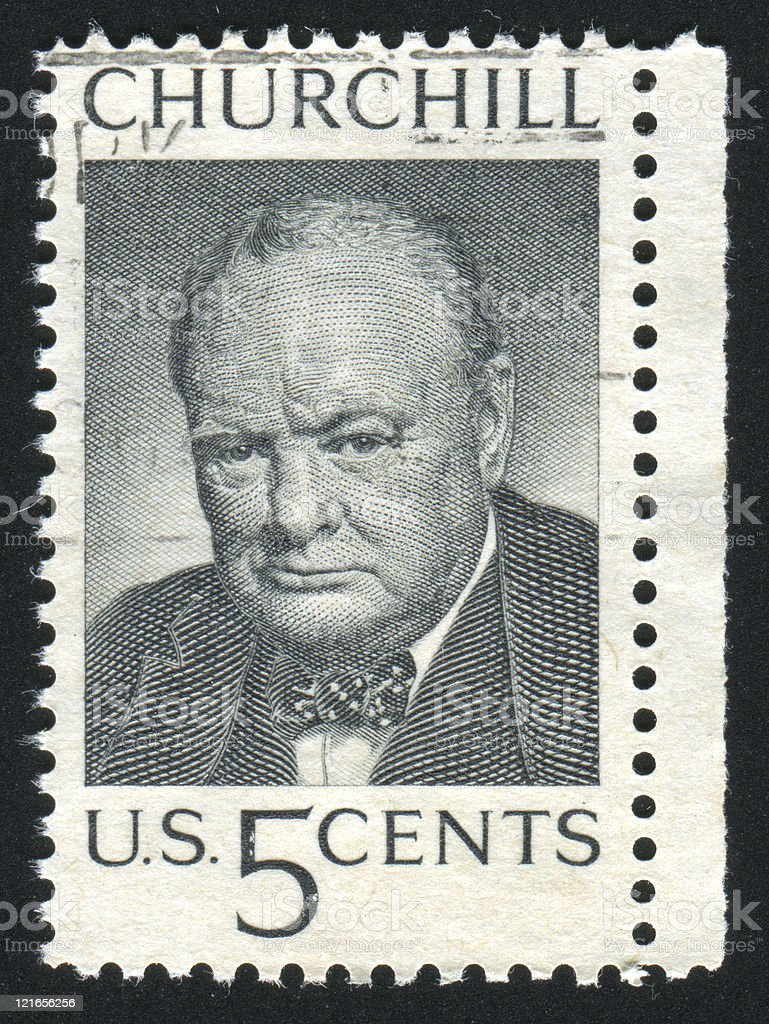 Old five cent postage stamp of Winston Churchill stock photo