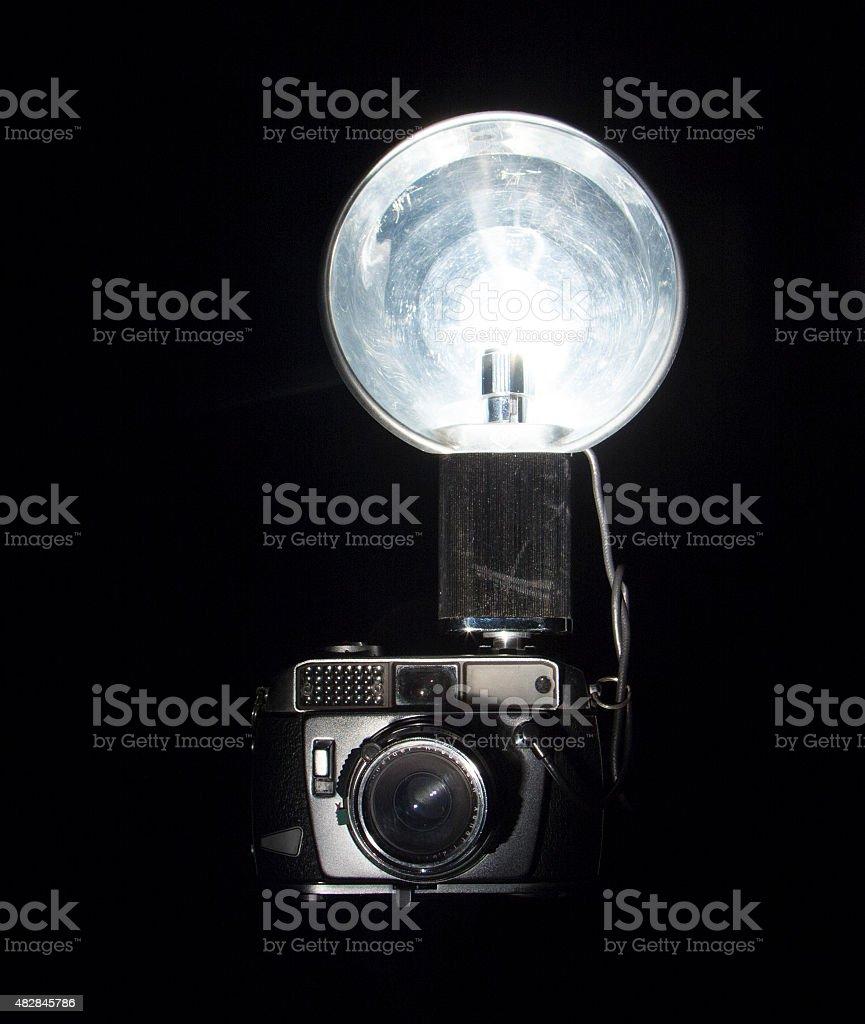 Old Flash Camera stock photo