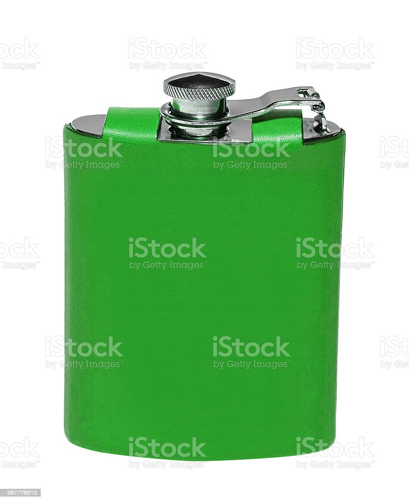 old flask for alcohol stock photo