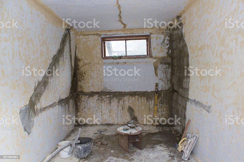 old flat during renovation stock photo