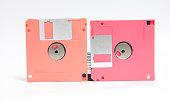 Old floppy disk put on white background.