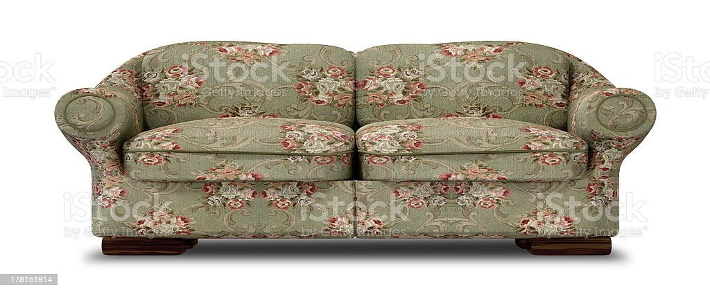 Old Floral Sofa Front royalty-free stock photo