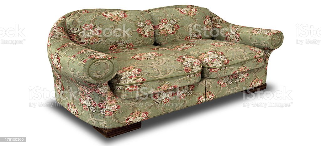Old Floral Sofa Perspective royalty-free stock photo