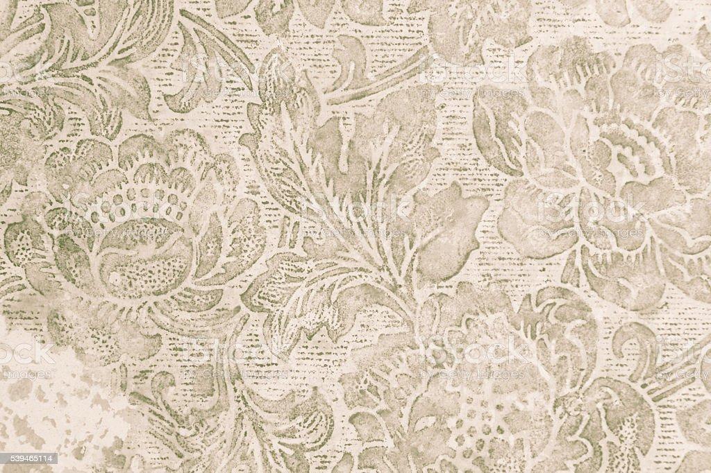 Old floral wallpaper grunge backround stock photo
