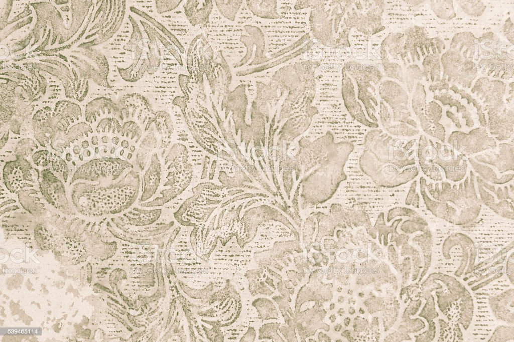 Old floral wallpaper grunge backround stock photo
