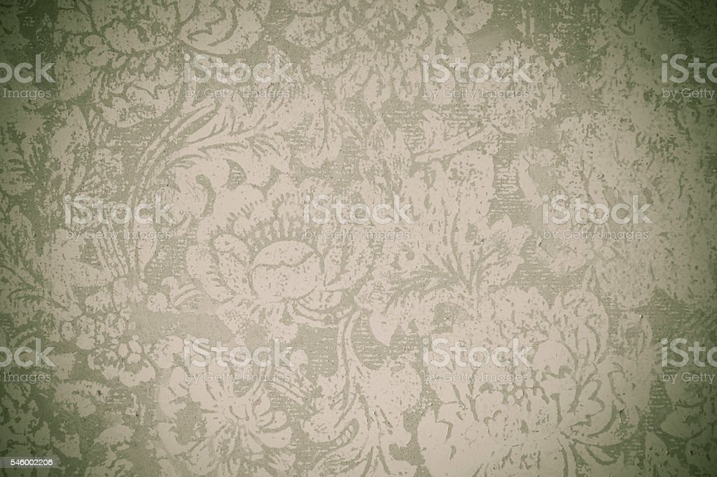 Old floral wallpaper grunge backround with vignette stock photo