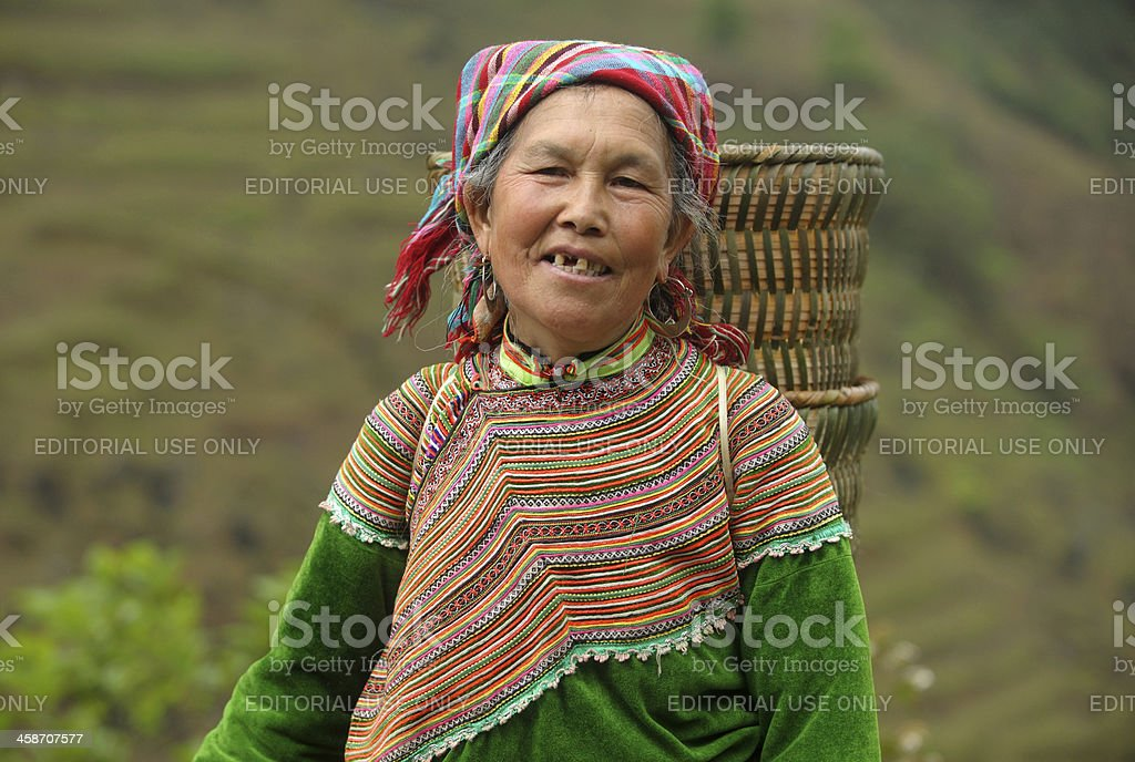 Old Flower Hmong women in the fields stock photo
