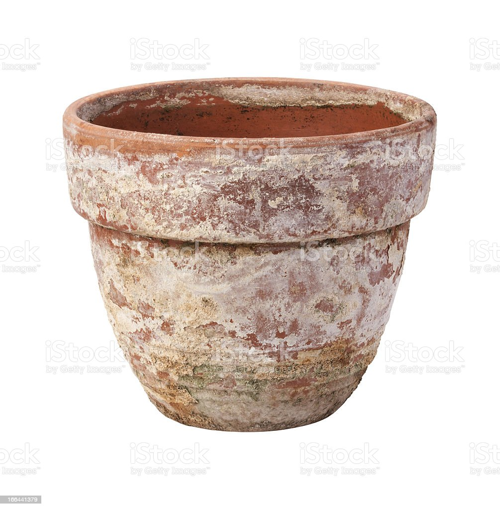 Old Flowerpot Isolated on White stock photo