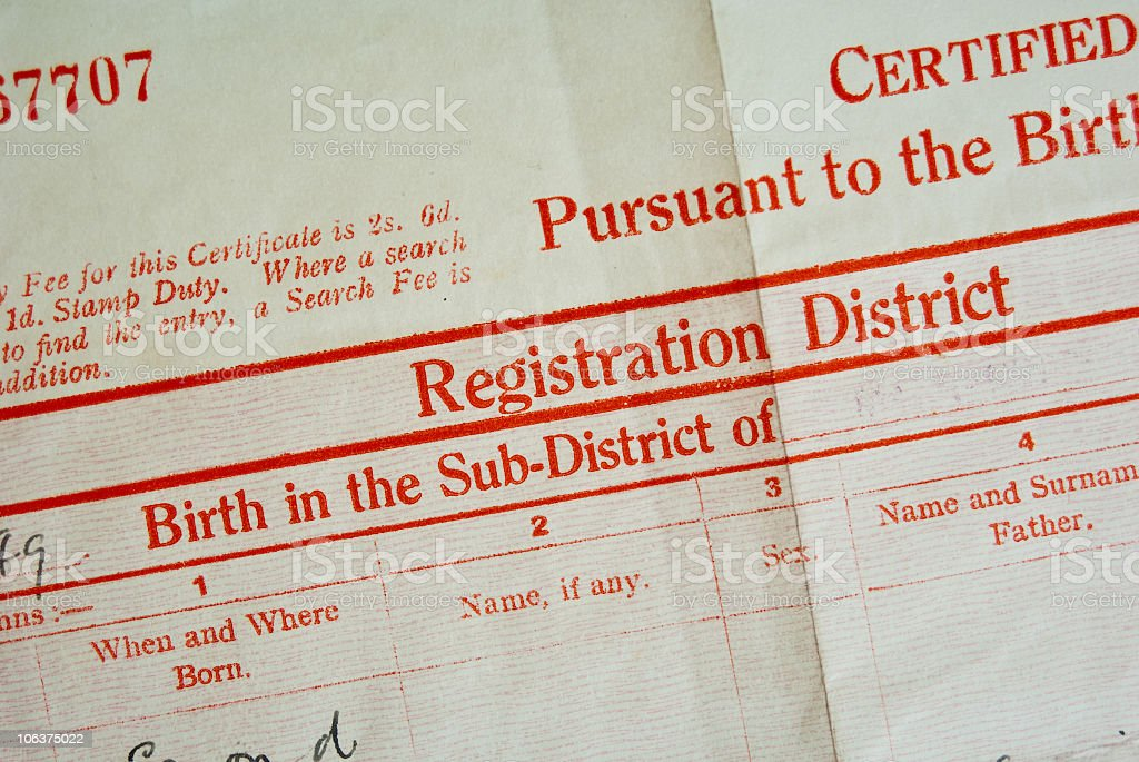 Old folded birth certificate in red ink stock photo
