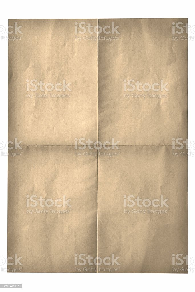 Old Folded Paper Yellow Background stock photo