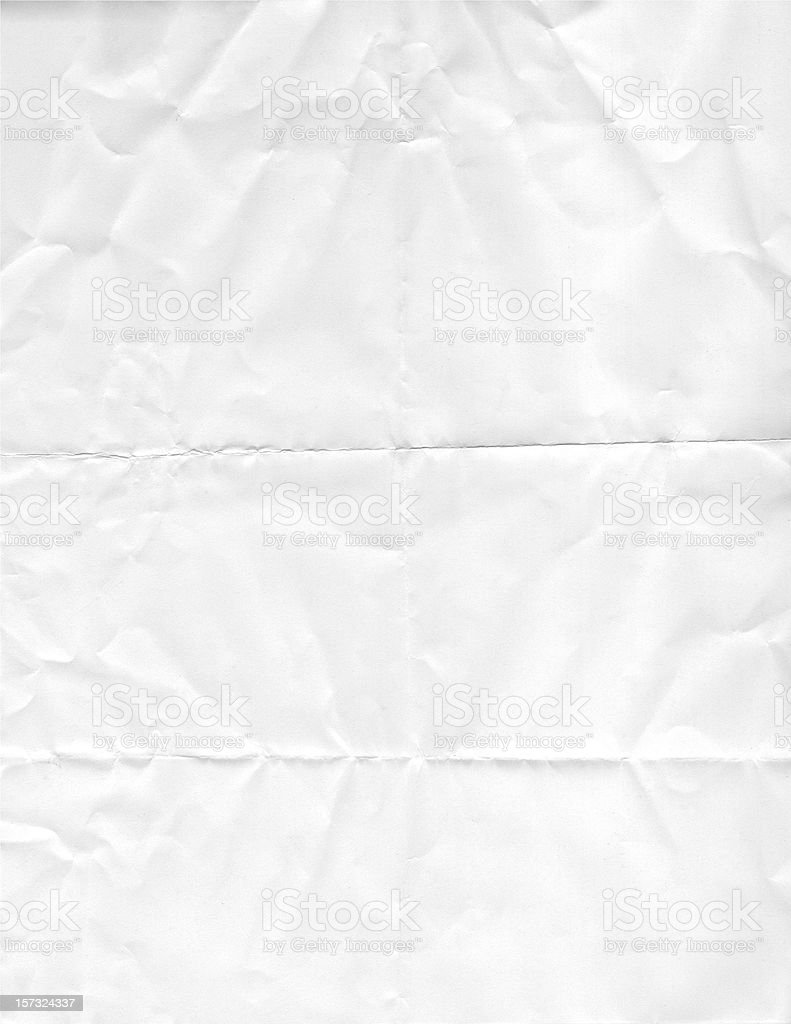 Old folded Wrinkled White Paper stock photo