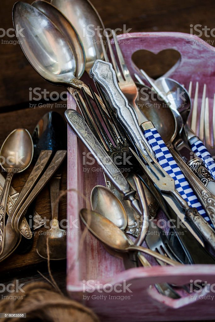 Old fork and spoon stock photo