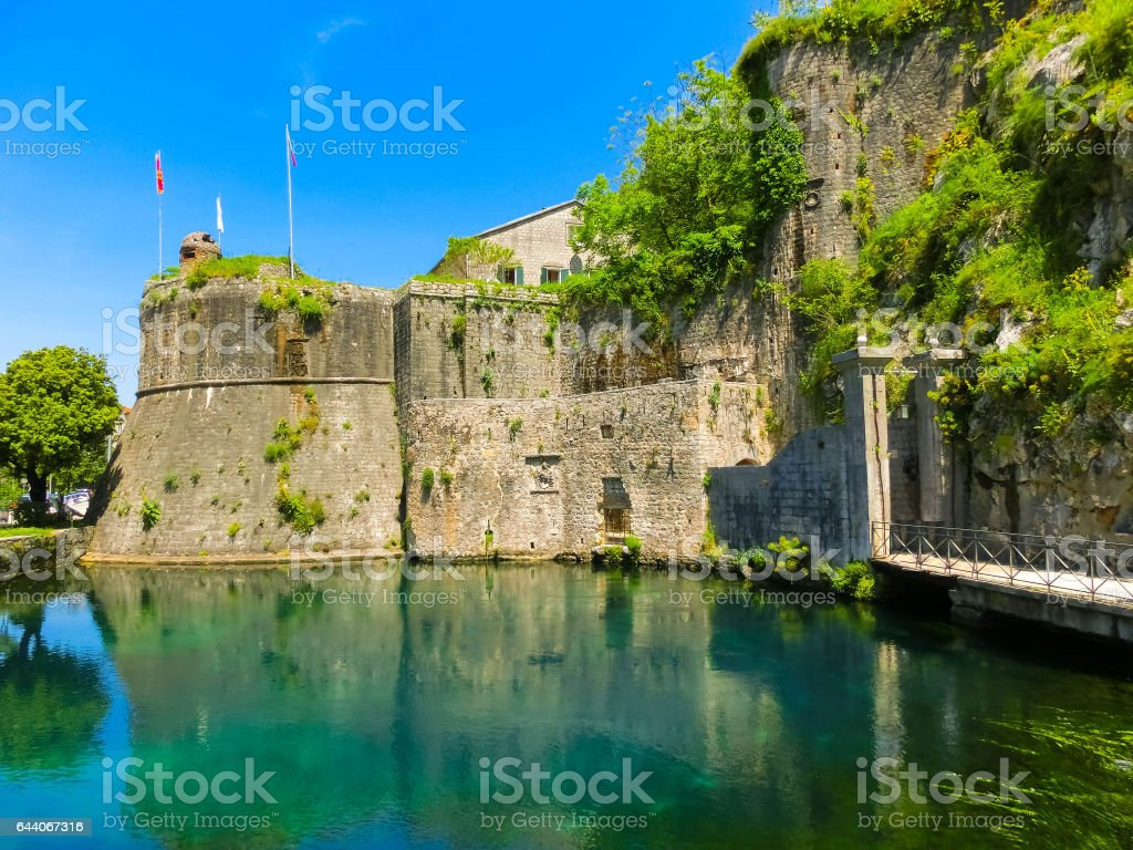 Old fortress of Kotor, Montenegro. Tower and wall stock photo