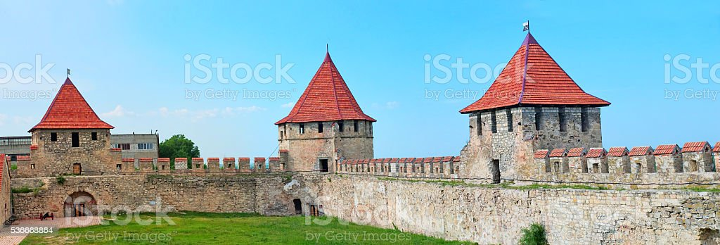 Old fortress on the river Dniester in town Bender, Transnistria. stock photo