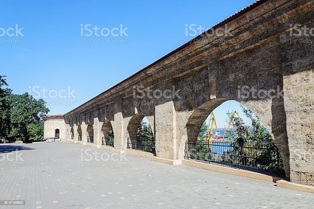 Old fortress wall in Odessa stock photo