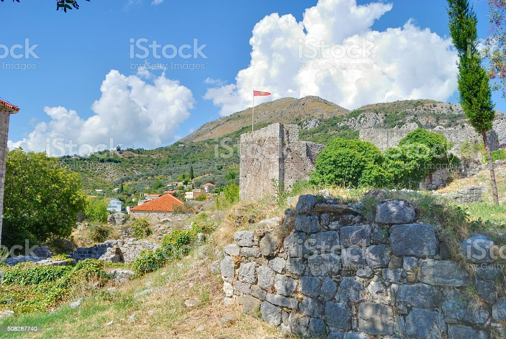 Old fortress with flag. stock photo