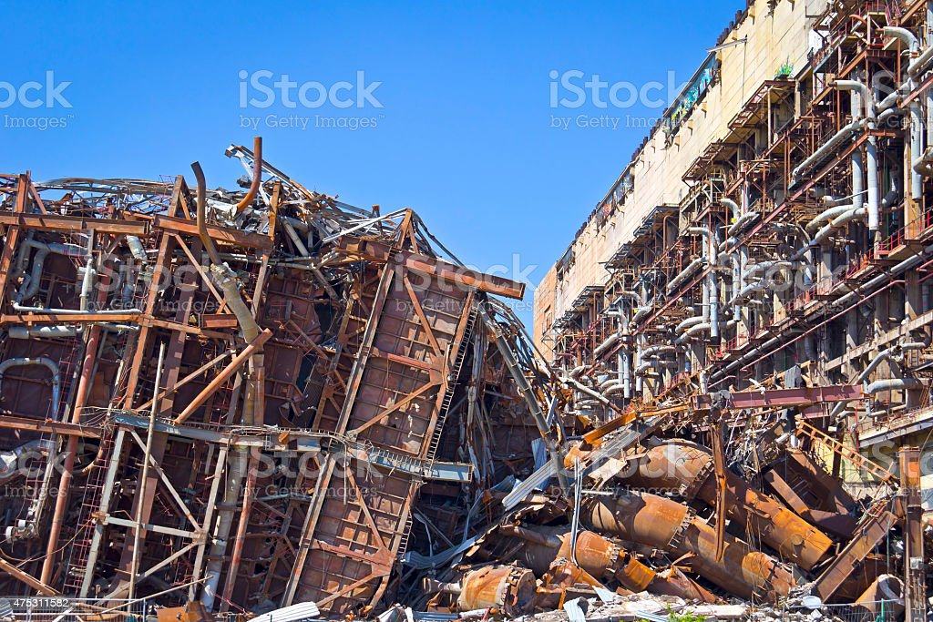 Old Fossil-fuel power station stock photo