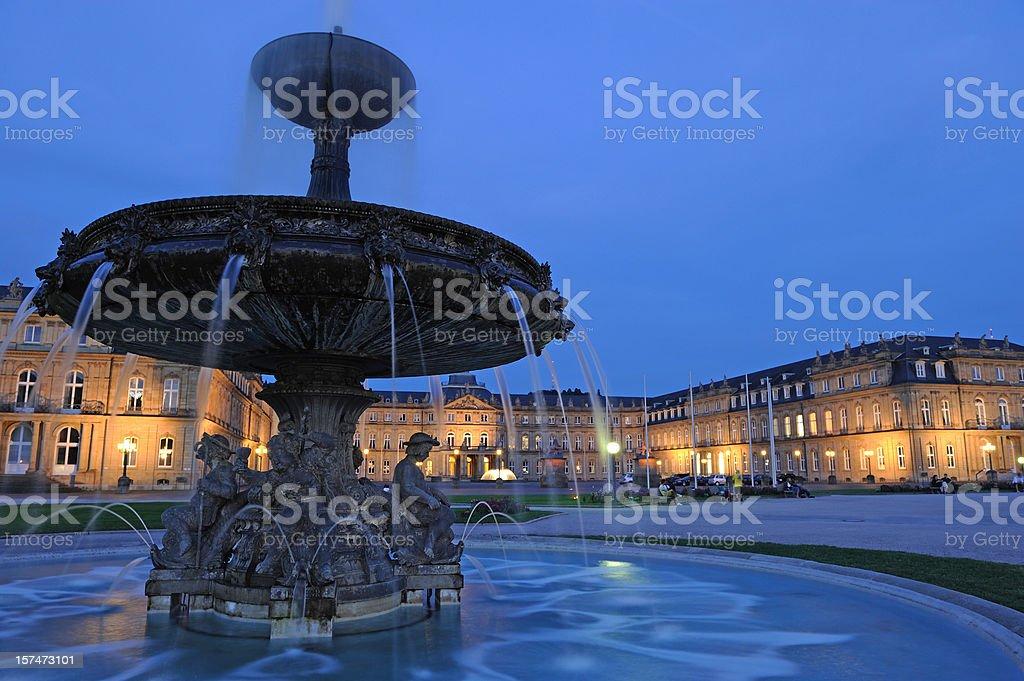 Old Fountain before New Palace Stuttgart Twilight stock photo