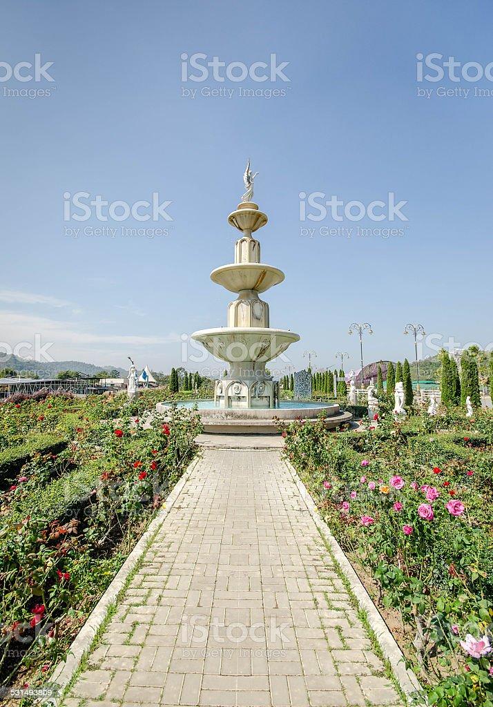 Old fountain in the garden stock photo