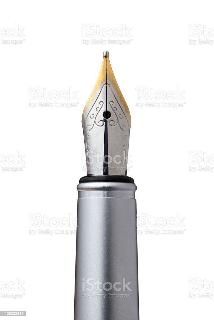 Old fountain pen with sharp tip stock photo